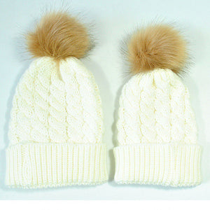 Mommy & Me Knitted Caps-Hey Hippie-White 2-Hey Hippie
