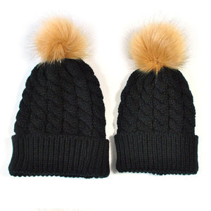 Mommy & Me Knitted Caps-Hey Hippie-Black 2-Hey Hippie