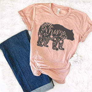 Floral Mama Bear T Shirt-Hey Hippie-Light Pink-S-Hey Hippie