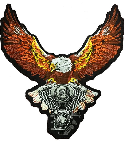 Eagle Engine Patch | Soaring Upwing | Motorcycle Embroidered Iron On | Large 12""