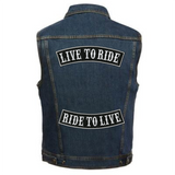 LIVE TO RIDE Rocker Patches | Ride To Live | Embroidered Iron On | Large 12""