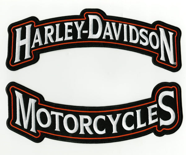 Harley Davidson Orange Embroidered Rockers