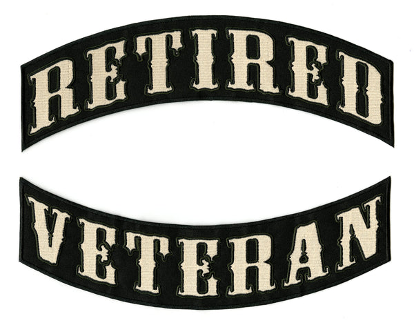 RETIRED VETERAN Rocker Patches | Military Patriotic | Embroidered Iron On | Large 12""