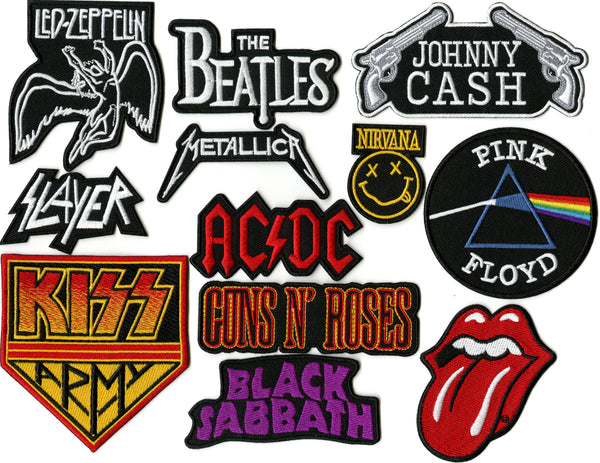 Nirvana Beatles Zeppelin Kiss Johnny Cash | Rock Band Small Embroidered Patches| 12 pc Set