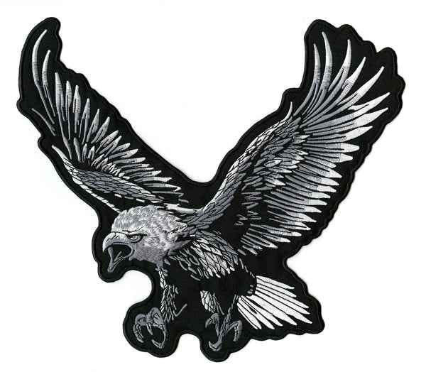 Silver Eagle Patch | Patriotic | Embroidered Iron On | Large 12.5""