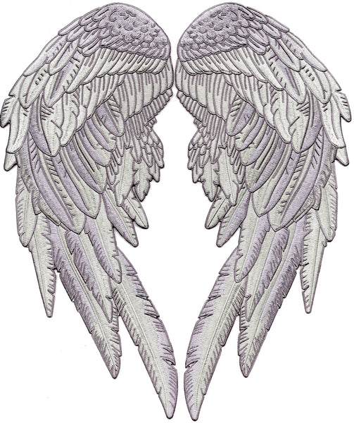 Angel Wings Patch | Silver Feather Patches | Embroidered Iron On | 14.5""