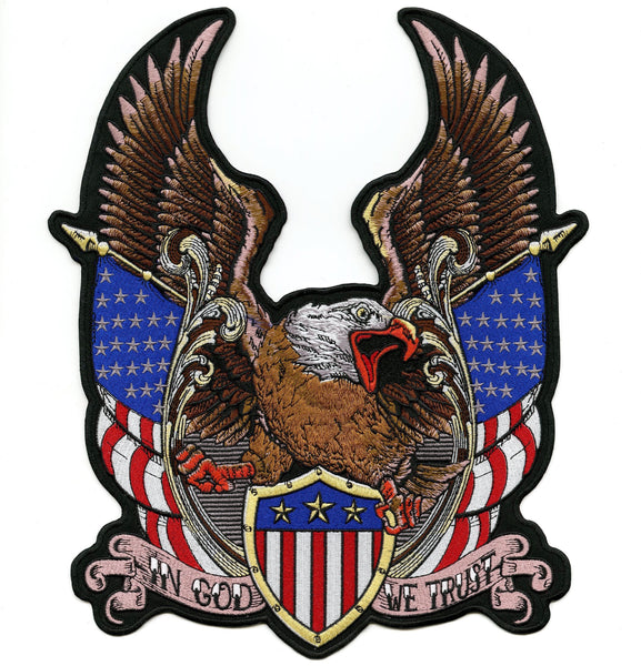 "Federal Eagle Patch |""In God We Trust"" Patriotic US Flag 