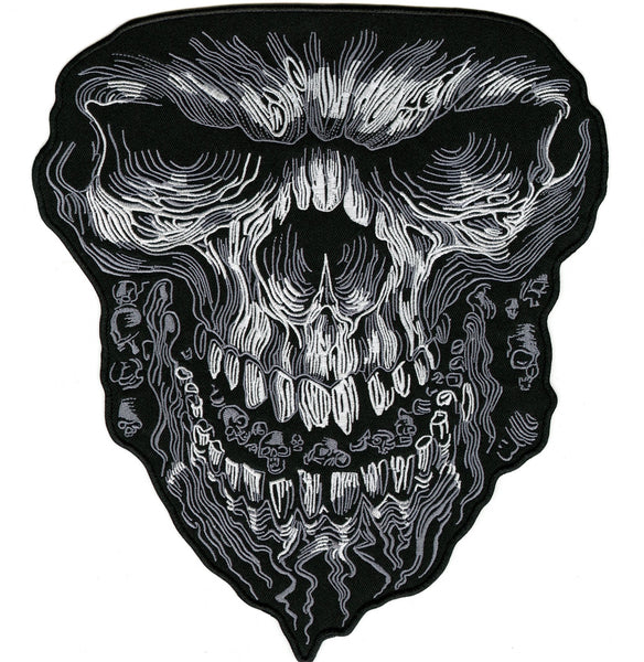 Evil Skull Patch | Embroidered Skeleton Iron On | Large 11""
