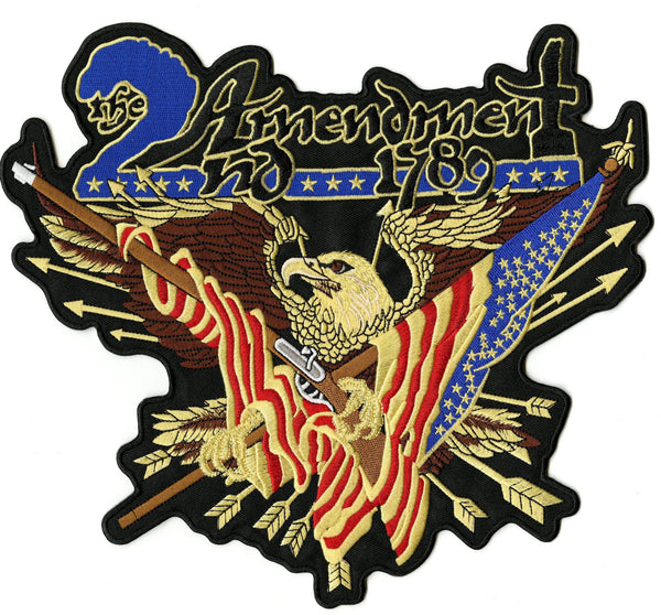 2nd Amendment Eagle Patch | Vintage 1789 Patriotic | Embroidered Iron On | Large 11""