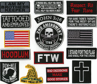 16 Pc. POW MIA | Dont Tread On Me | FTW | American Flag | Hoodlum | Cross | John 3:16  | Religious/Christian | Military Patches | Embroidered Large Patch Set