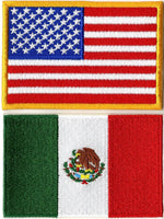 Mexican American Flag Patches | USA Patriotic | Embroidered Patch | Iron On Small 3.25""