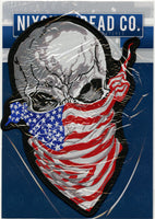Ruthless Skull Patch | HalfSkull US Flag Patriotic Military Skeleton | Embroidered Iron On | Large 11.5""