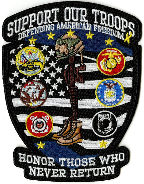 Support Our Troops Patch | US Military Veteran Pow Mia | Embroidered Iron On | Small 5""