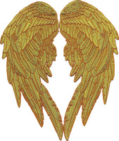Gold Metallic Angel Wings Embroidered Patch Feathers Biker Men Women Lady Rider 2pc. Set