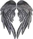 Black Angel Wings Embroidered Patch Feathers Biker Chick Lady Rider Dark Grey 2pc. Set