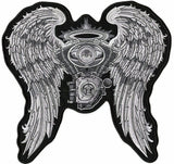 Angel Wings Halo Patch | Motorcycle Engine | Embroidered Iron On | Large 10""