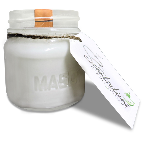 Christmas Wish Mason Jar Candle 100% Pure Beeswax and Coconut Oil Wooden Wick