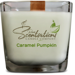 Caramel Pumpkin Candle (12oz) 100% Pure Beeswax, Coconut Oil, and Caramel Pumpkin Fragrance with Wooden Wicks