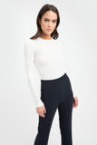 long sleeve knit blend high crew neck white ribbed top
