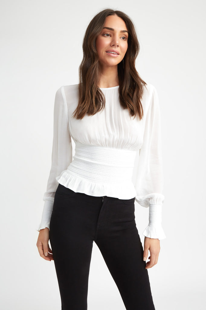 womens white crew neck top billowy sleeves shirred cuff