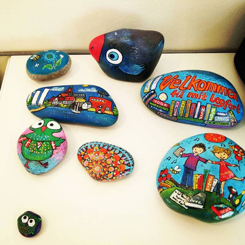 naive painted rocks sussi louise Ilkley UK art online Christine Onward bright love colours australia