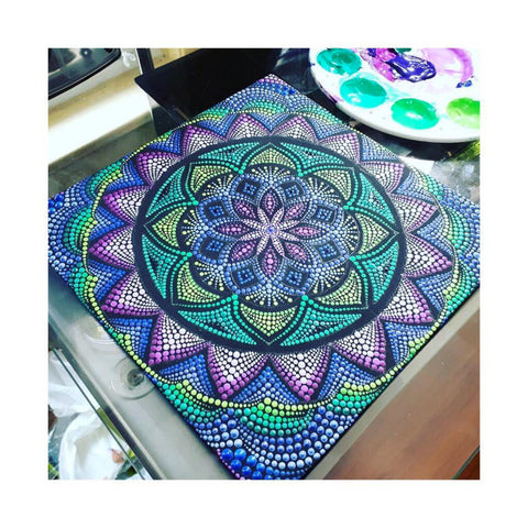 Mandala painted sacred geometry Corrina canning at blog story christine Onward