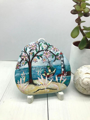 tree of life mexican original rock painting folk home beach decoration Christine Onward australia blog gift beautiful summer christmas