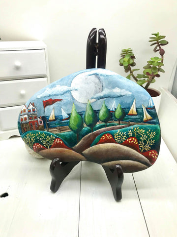painted rock home decoration beach house gift mother Christine Onward art blog Australia Old Bar