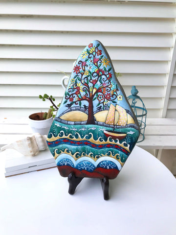 tree of life love summer folk art stone painting Christine Onward rustic beach house blue decoration original housewarming one of a kind gift souvenir Australia