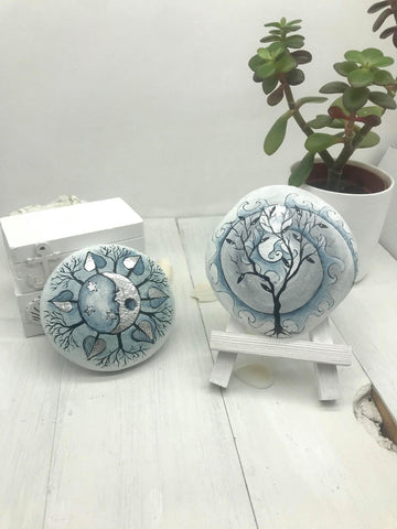 mandala art silver leaf home decoration paperweight bookend painted rocks unique Christine Onward