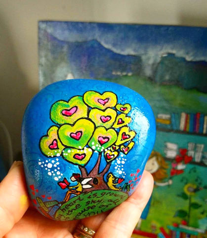 book lover painted rock naive art Sussi Louise online blog Christine Onward art promote sale australia