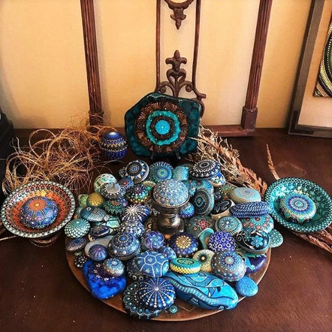 mandala painted rocks boho chic design collection Parrish Jefferson