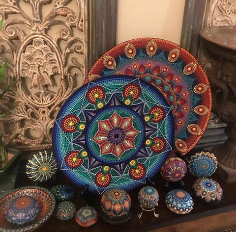 boho chick home decorations mandala painted rocks blog Christine Onward
