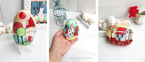 Christine Onward naive art Australia blog painted rocks