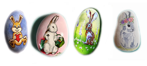 painted rocks Easter bunnies pretty children colourful Christine Onward art blogger australia