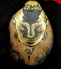 painted rock golden Buddha art by Tunde Fodor at Rock Street Collective