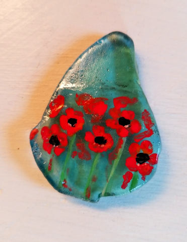 red flowers painted rock love decoration Pamela Campbell