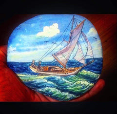 Rock painting boat Christine Onward Australia gallery blog article new music sea waves ocean travel adventure old bar
