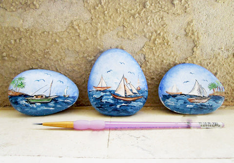 blue painted rocks boats ocean mediterranean Danijela Milosevic blog art Christine Onward