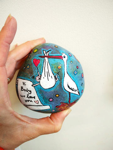 stork bird panted rock baby gift decoration fun art blog Christine Onward blue