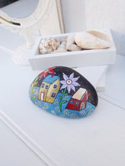 painted rocks flowers village happy home decoration