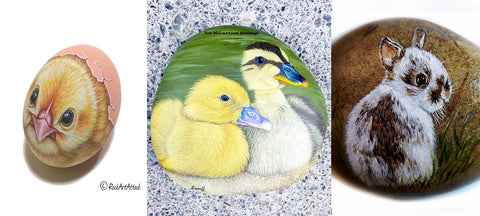 painted rocks chicken ducks Easter art blog Christine Onward Wednesday Snapshot