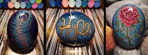 dot art painted rocks Rachel Mitchell Rachel's rocks Canada tutorial art blog Christine Onward