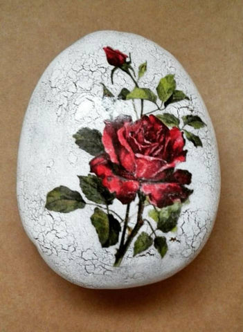 rose painted rock interior rustic red decoration valentine's day