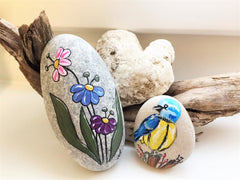 painted rocks flowers bird happy home decorations