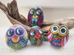 painted rocks owls colourful home decorations