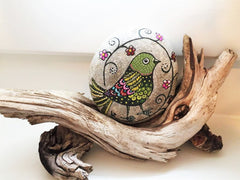 painted rock folk bird happy home decoration