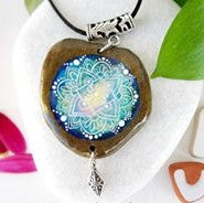 necklace pendant jewelry painted rock stone art beautiful Italy Annalisa Cacciatore