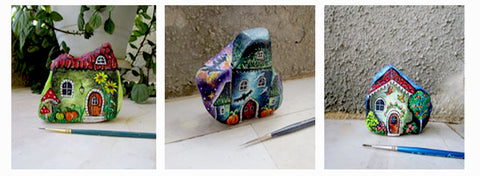 houses story beautiful painted rocks Danijela Milosevic art blog Greece