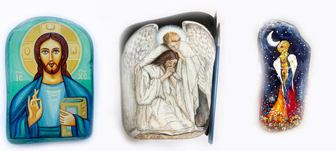 ICONS PAINTED ROCKS easter blog Christine Onward quality online art